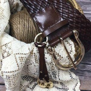 Michael Kors Brown Leather Belt XL